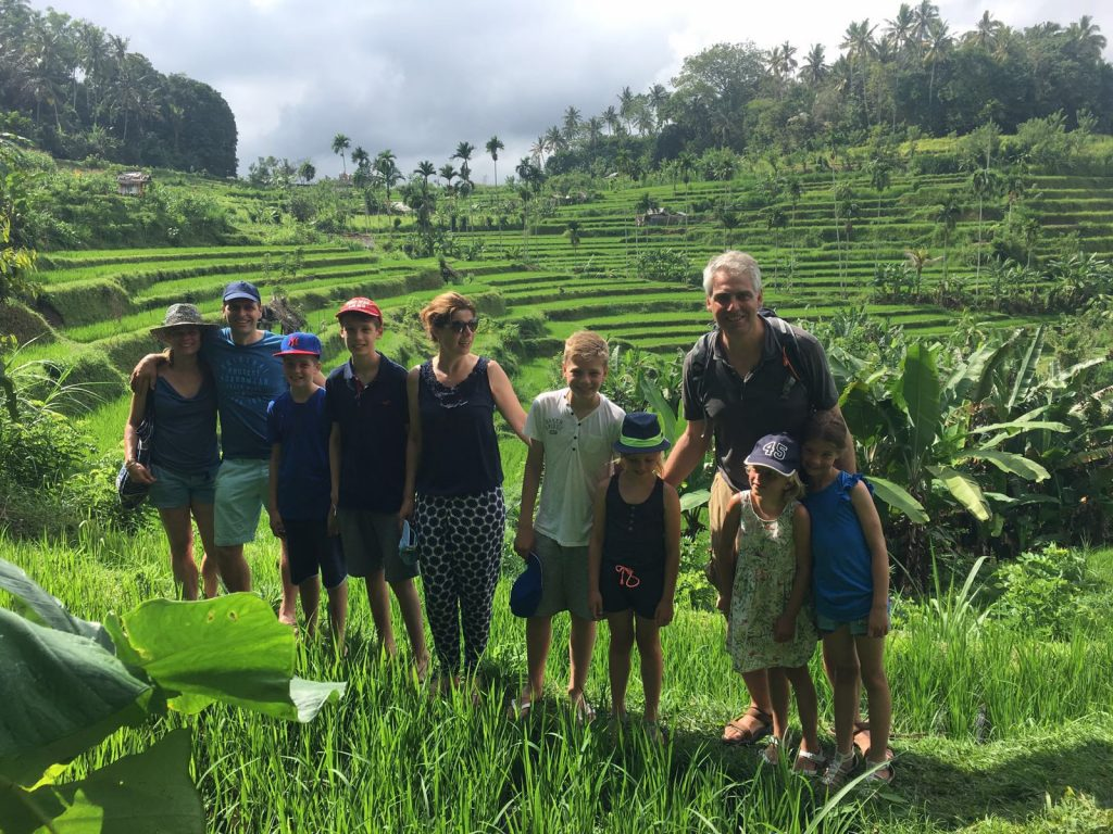 Family tracking in Tirtagangga ricefields