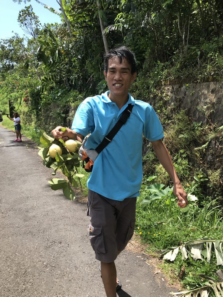 Driver Komang sharing fruit from the tree